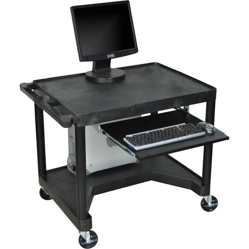 Luxor Endura Workstation w/Legroom & Keyboard Shelf (Black)