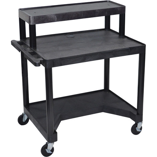 Luxor Endura Workstation w/Cut-Out Legroom & Terminal Platform (Black)