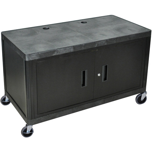 Luxor 2-Shelf Heavy-Duty Work Center with Cabinet, Model LEW29CB  Black Top with Black Cabinet