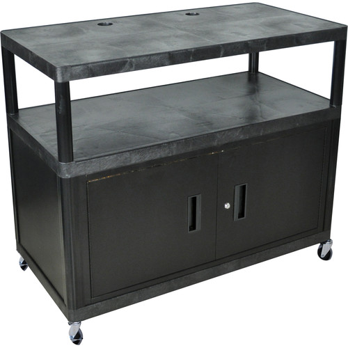 Luxor 3-Shelf Extra-Wide Heavy-Duty Work Center with Cabinet, Model LEW40CB  Black Top with Black Cabinet
