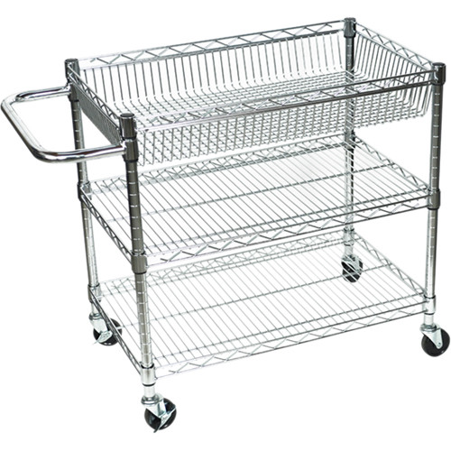 "Luxor 30"" (H) 3-Shelf Wire Tub Cart"