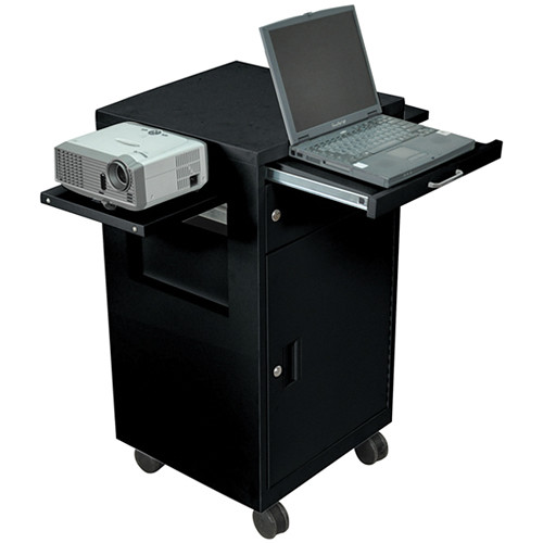 Luxor Multimedia Cart with Locking Cabinet, Model LMC2B  (Black)