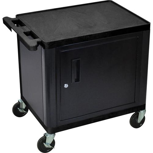 "Luxor Open Shelf Plastic Table with Cabinet, 18 x 24"", Model LP26C (Black/Gray)"