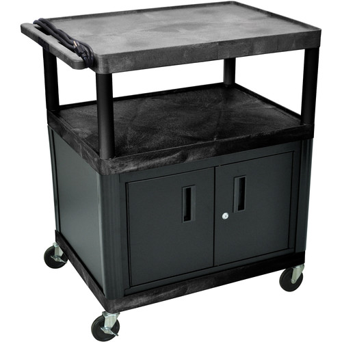 "Luxor 40"" LP Table 32x24"" w/Cabinet & 3-Outlet Electric (Black)"