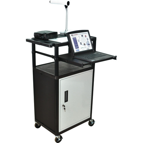 Luxor LP45CLE-B Presentation Cart with Locking Cabinet