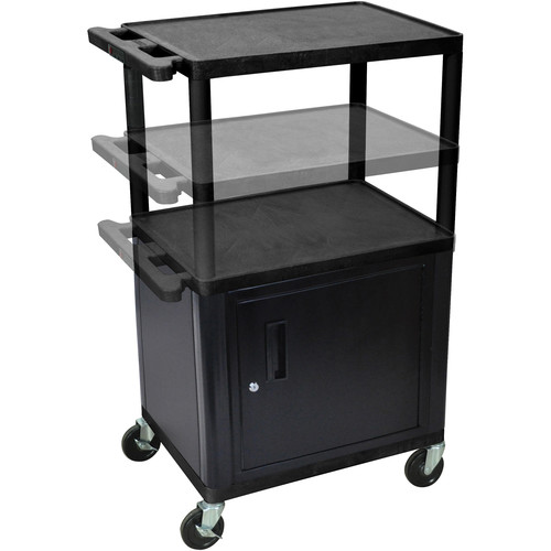 """Luxor 16-42"""" Adjustable Height LP Table w/Cabinet/Electric (Black/Gray)"""