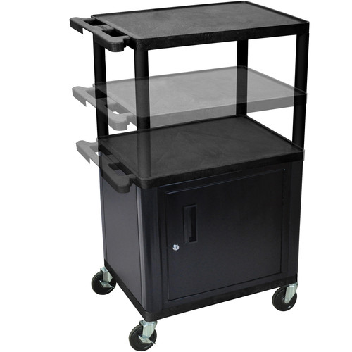 "Luxor 16-42"" Adjustable Height LP Table w/Cabinet (Black/Gray)"
