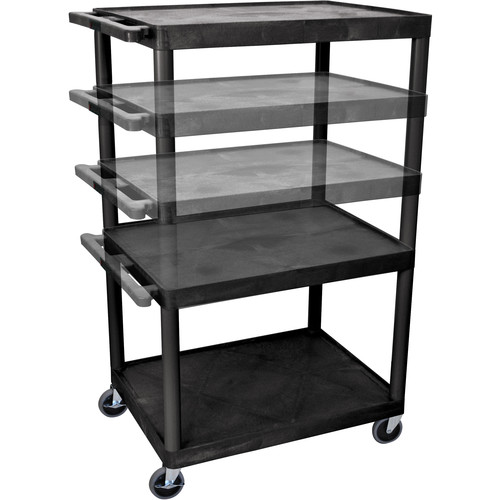 "Luxor 27-54"" Adjustable Height Extra-Wide LP Table w/Electric (Black)"