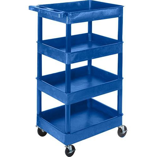 "Luxor STC1111 24 x 18"" Four Shelf Heavy-duty Utility Cart (Blue)"