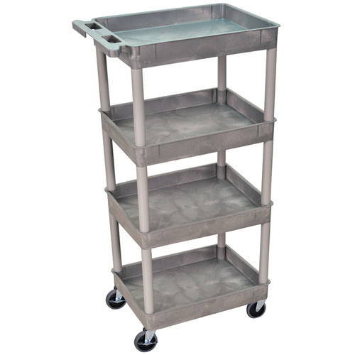 "Luxor STC1111 24 x 18"" Four Shelf Heavy-duty Utility Cart (Gray)"