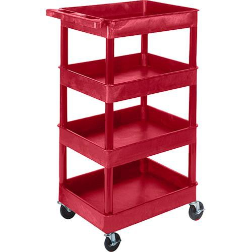 "Luxor STC1111 24 x 18"" Four Shelf Heavy-duty Utility Cart (Red)"