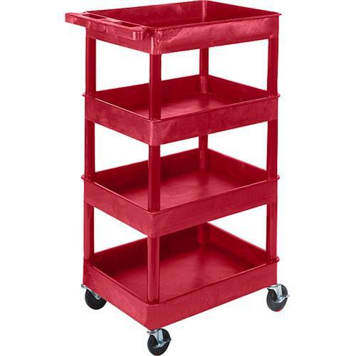 """Luxor STC1111 24 x 18"""" Four Shelf Heavy-duty Utility Cart (Red)"""