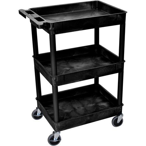 "Luxor 24 x 18"" Three-Shelf Utility Cart (Black)"