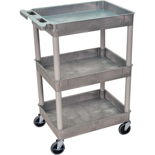 "Luxor 24 x 18"" Three-Shelf Utility Cart (Gray)"