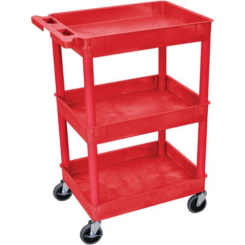 "Luxor 24 x 18"" Three-Shelf Utility Cart (Red)"