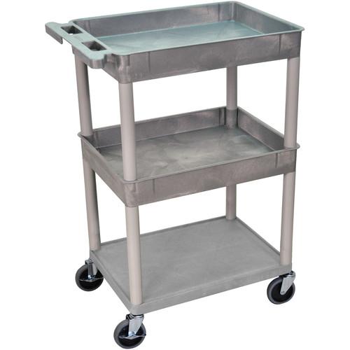 "Luxor 24x18"" HD Utility Cart/3-Shelf (Gray)"