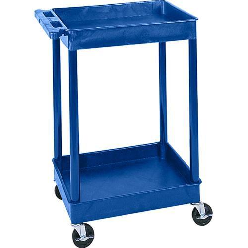 "Luxor STC11 24 x 18"" Two Shelf Heavy-duty Utility Cart (Blue)"