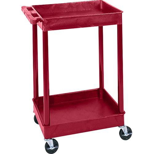 "Luxor STC11 24 x 18"" Two Shelf Heavy-duty Utility Cart (Red)"