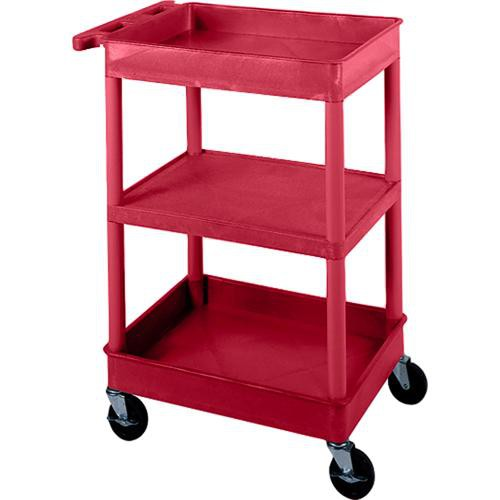 "Luxor STC121 18 x 24"" Three Shelf Heavy-duty Utility Cart (Red)"