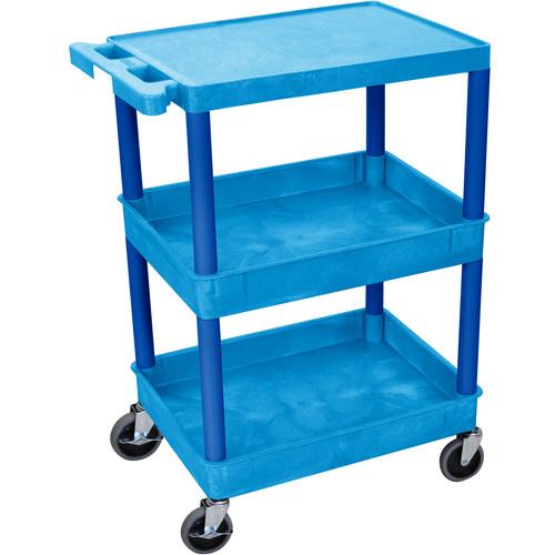 """Luxor STC211 24 x 18"""" Three Shelf Heavy-duty Utility Cart (Blue)"""
