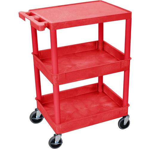 "Luxor STC211 24 x 18"" Three Shelf Heavy-duty Utility Cart (Red)"