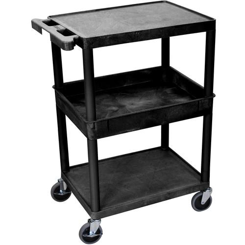 "Luxor STC212 24 x 18"" Three-Shelf Utility Cart (Black)"