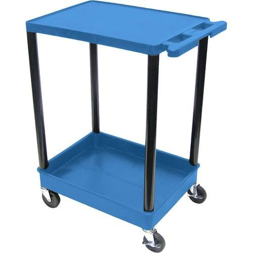 "Luxor STC21 24 x 18"" Two Shelf Heavy-duty Utility Cart (Blue)"