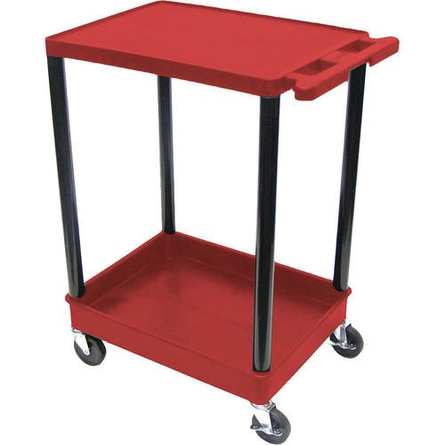 "Luxor STC21 24 x 18"" Two Shelf Heavy-duty Utility Cart (Red)"