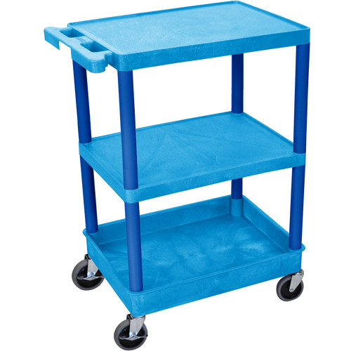 "Luxor STC221 24 x 18"" Three Shelf Heavy-duty Utility Cart (Blue)"