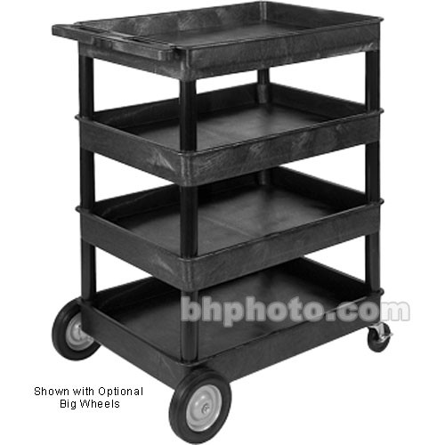 "Luxor TC1111 32 x 24"" Four Shelf Heavy-duty Utility Cart (Black)"