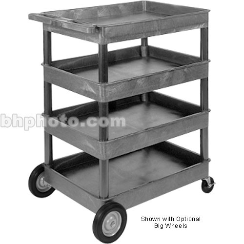 "Luxor TC1111 32 x 24"" Four Shelf Heavy-duty Utility Cart (Gray)"