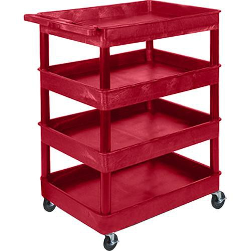 "Luxor TC1111 32 x 24"" Four Shelf Heavy-duty Utility Cart (Red)"
