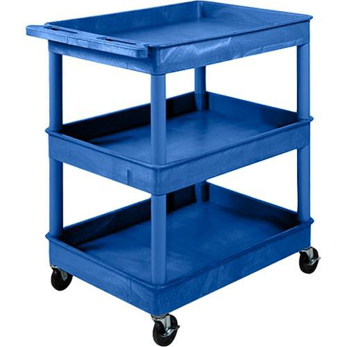 "Luxor 32 x 24"" Three-Shelf Utility Cart (Blue)"