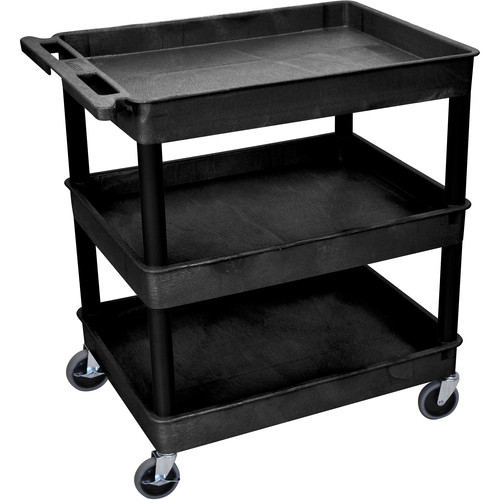 "Luxor 32 x 24"" Three-Shelf Utility Cart (Black)"