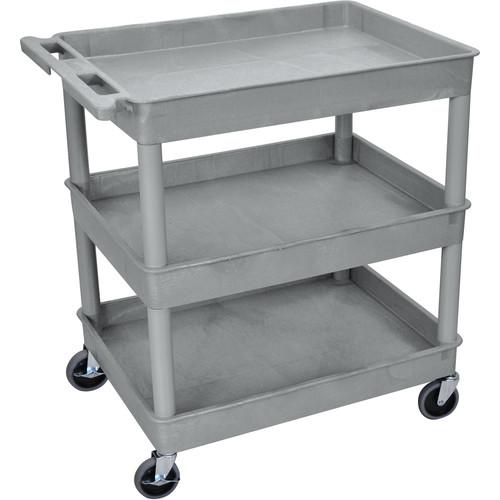 "Luxor 32 x 24"" Three-Shelf Utility Cart (Gray)"