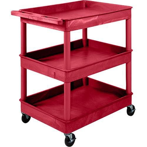 "Luxor TC111 32 x 24"" Three Shelf Heavy-duty Utility Cart (Red)"