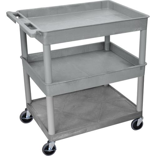 "Luxor 32x24"" HD Utility Cart/3-Shelf (Gray)"
