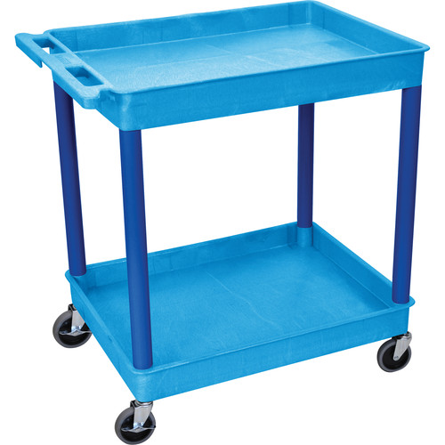 "Luxor TC11 32 x 24"" Two Shelf Heavy-duty Utility Cart (Blue)"