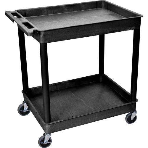 "Luxor TC11 32 x 24"" Two Shelf Heavy-duty Utility Cart (Black)"