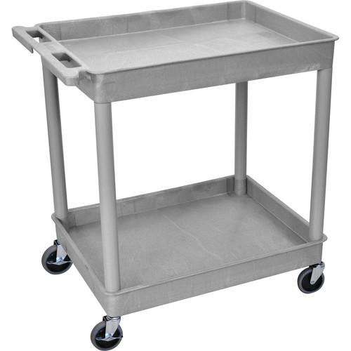 "Luxor TC11 32 x 24"" Two Shelf Heavy-duty Utility Cart (Gray)"
