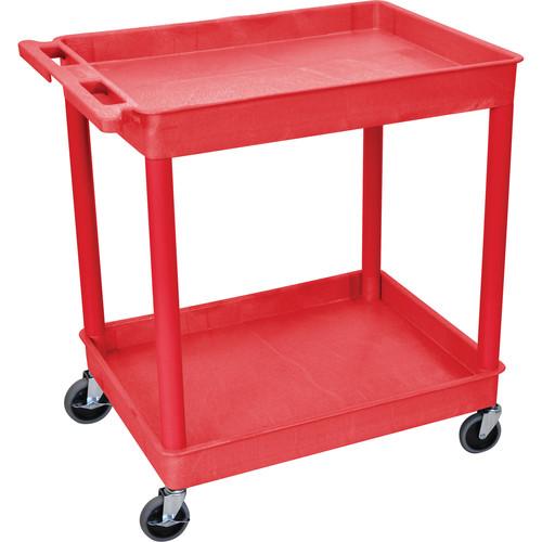 "Luxor TC11 32 x 24"" Two Shelf Heavy-duty Utility Cart (Red)"
