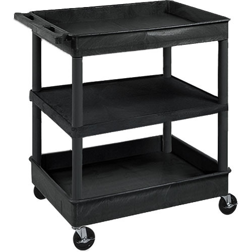 "Luxor TC121 32 x 24"" Three Shelf Heavy-duty Utility Cart (Black)"