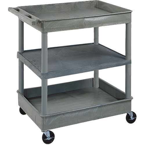 "Luxor TC121 32 x 24"" Three Shelf Heavy-duty Utility Cart (Gray)"