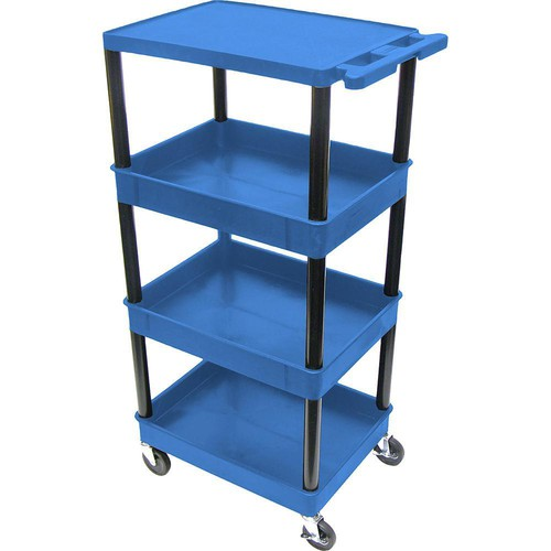 "Luxor TC2111 32 x 24"" Four Shelf Heavy-duty Utility Cart (Blue)"