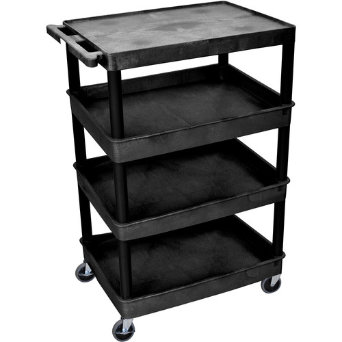 "Luxor TC2111 32 x 24"" Four Shelf Heavy-duty Utility Cart (Black)"