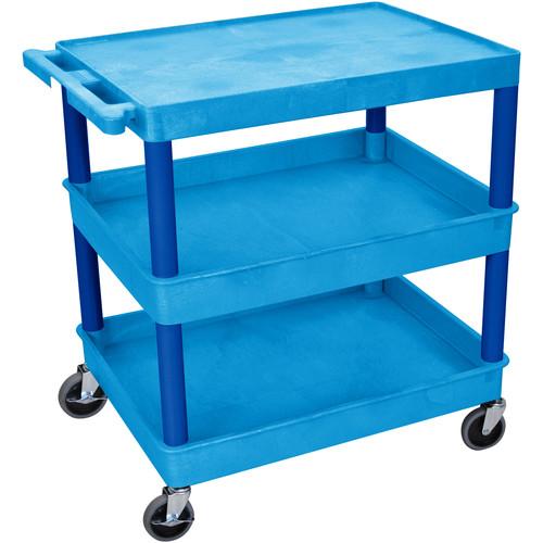 "Luxor TC211 32 x 24"" Three Shelf Heavy-duty Utility Cart (Blue)"