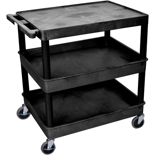 "Luxor TC211 32 x 24"" Three Shelf Heavy-duty Utility Cart (Black)"