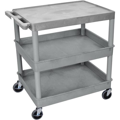 "Luxor TC211 32 x 24"" Three Shelf Heavy-duty Utility Cart (Gray)"