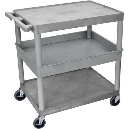 """Luxor 32x24"""" HD Utility Cart/3-Shelf (Gray) - Flat Top/Bottom Shelf"""