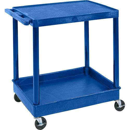 "Luxor TC21 32 x 24"" Two Shelf Heavy-duty Utility Cart (Blue)"